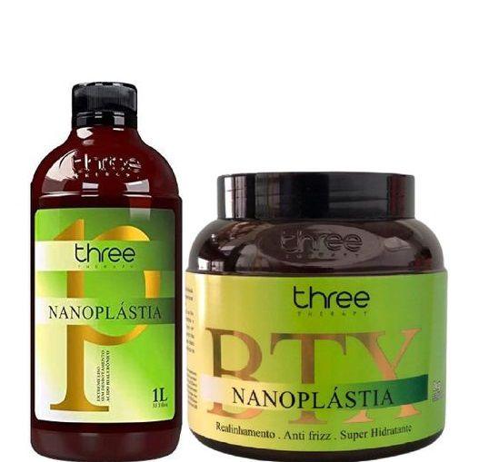 Three Therapy Escova Progressiva e Btx Nanoplástia 2x1litro