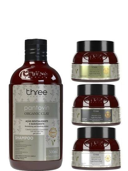 Three Therapy Pantovin Organic Clay Cronograma Capilar 4 Produtos