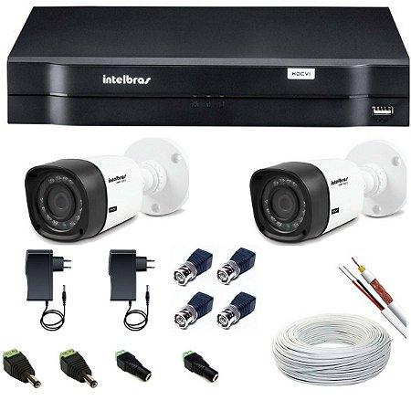 Kit Intelbras 2 Câmeras VHD 1010 Bullet e DVR Híbrido MHDX 1004