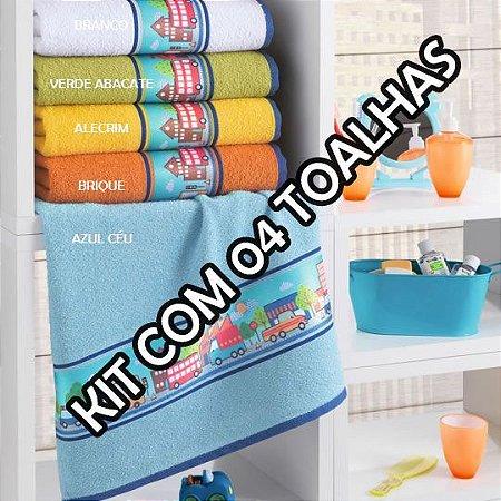 4cbe09d1a0 Toalhas de Rosto Infantil City - Kit com 4 - Toque Macio - Cama Mesa ...