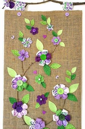 Panô Feltro Flores Lilás