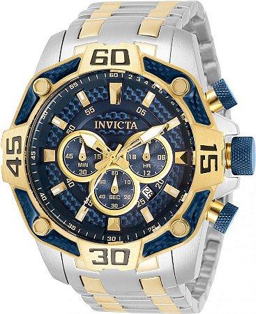 Relógio Invicta Pro Diver 33845 Banho Prata e Ouro 52mm Cronógrafo