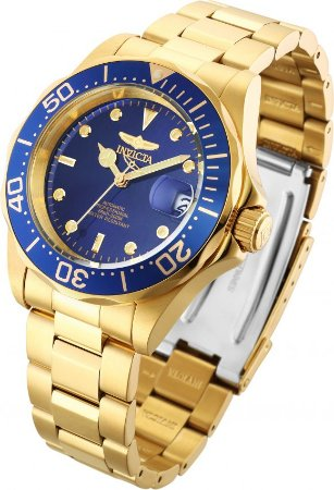 Relógio Invicta Pro Diver 8930 Automático Banho Ouro Mostrador Azul