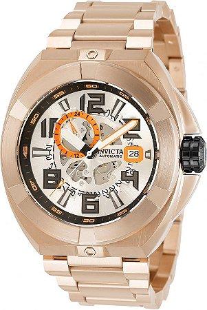 Relógio Invicta Akula 32710 Automático Banho Ouro Rosê Mostrador Esqueleto