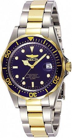 Relógio Invicta Pro Diver 8935 Banho Prata e Ouro Fundo Azul Pequeno