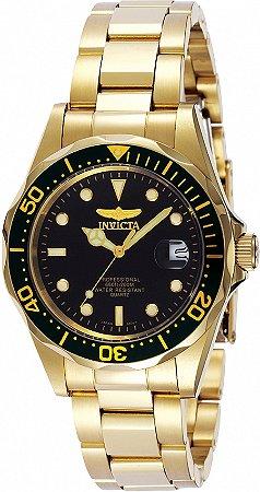 Relógio Invicta Pro Diver 8936 Banho Ouro Fundo Preto Caixa Pequena