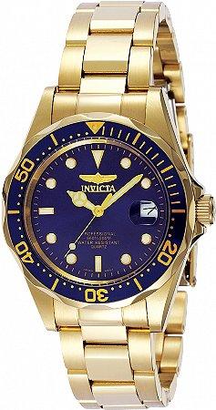 Relógio Invicta Pro Diver 8937 Banho Ouro Fundo Azul Caixa Pequena