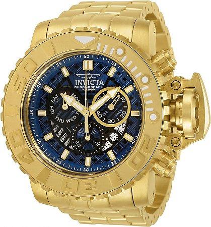 Relógio Invicta Sea Hunter 30911 Banho Ouro Mostrador Azul Suíço