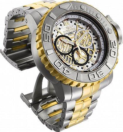 Relógio Invicta Sea Hunter 26106 Banho Prata e Ouro Mov. Suíço 58mm