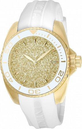 Relógio Invicta Angel 22703 Banho Ouro 18k Pulseira Branca