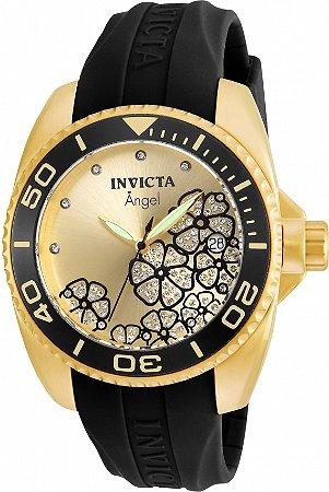 Relógio Invicta Angel 23488 Banho Ouro 18k Mostrador Champanhe
