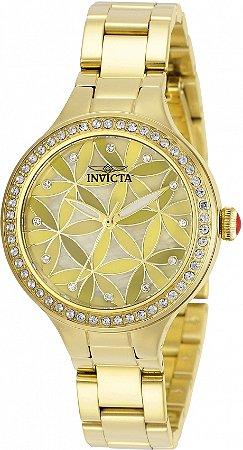 Relógio Invicta Wildflower 30970 Banho Ouro Pedras Tipo Cristal
