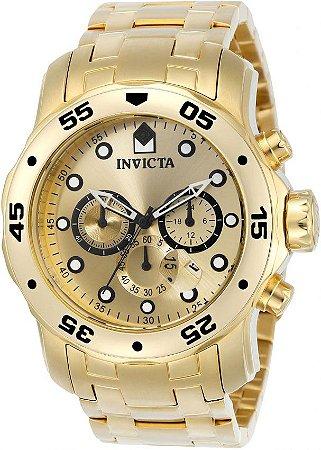 Relógio INVICTA Original Pro Diver 0074 Banhado a Ouro 18kt Cronógrafo Mostrador Dourado