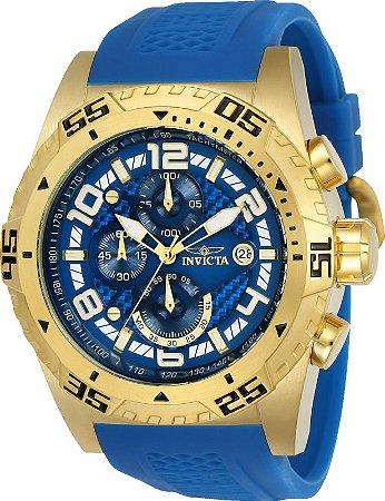 Relógio Invicta Pro Diver 24713 Banho Ouro Mostrador Azul