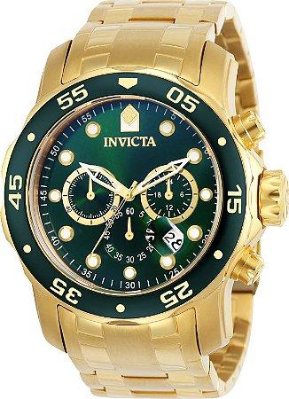 Relógio INVICTA Original Pro Diver 0075 Banhado a Ouro 18k Cronógrafo Mostarador Verde