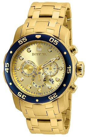 Relógio INVICTA Original Pro Diver 80068 Banhado a Ouro 18kt Cronógrafo Mostrador Dourado com Azul