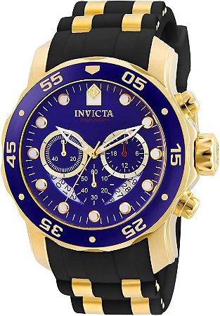cb4253e1120 Relógio INVICTA Original Pro Diver 6983 Banhado a Ouro 18kt Pulseira em  Borracha Cronógrafo Mostrador Azul