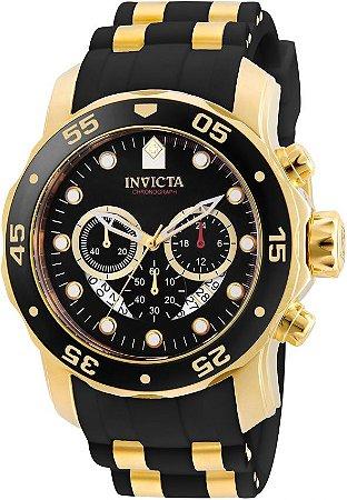 Relógio INVICTA Original Pro Diver 6981 Banhado a Ouro 18kt Pulseira em Borracha Cronógrafo Mostrador Preto