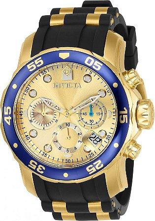 Relógio INVICTA Original Pro Diver 17881 Banhado a Ouro 18kt Pulseira em Borracha Cronógrafo Mostrador Dourado
