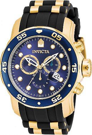 Relógio INVICTA Original Pro Diver 17882 Banhado a Ouro 18kt Pulseira em Borracha Cronógrafo Mostrador Azul