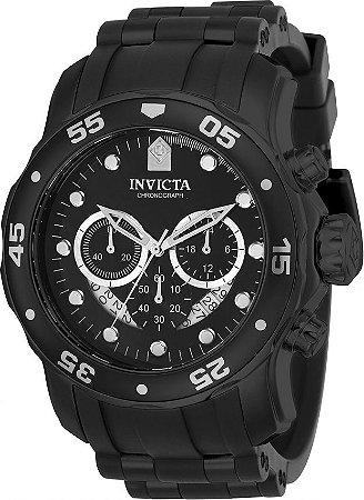 Relógio INVICTA Original Pro Diver 21930 Preto Pulseira em Borracha Cronógrafo Mostrador Preto