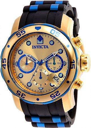 4aeb762e5c1 Relógio INVICTA Original Pro Diver18041 Banhado a Ouro 18kt Pulseira em  Borracha Cronógrafo Mostrador Dourado