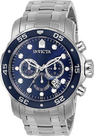 4c9da560620 Relógio INVICTA Pro Diver 0070 Original Prata Mostrador Azul Cronógrafo Data