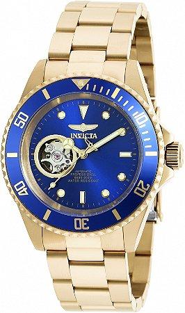 Relógio Invicta Pro Diver 20437 Automático Banho Ouro Mostrador Azul