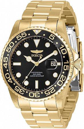 Relógio Invicta Pro Diver 33257 Banho Ouro 42mm Mostrador Preto