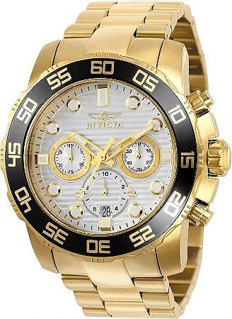 Relógio INVICTA Pro Diver 22229 Original Banhado a Ouro 18k Mostrador Branco Cronógrafo Lançamento
