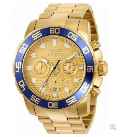 Relógio INVICTA Pro Diver 22227 Original Banhado a Ouro 18k Mostrador amarelo Cronógrafo Lançamento