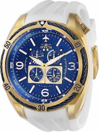 Relógio Invicta Aviator 28081 Banho Ouro Pulseira Branca Cx 50mm
