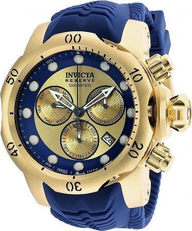 Relógio Invicta Venom 90149 Banho Ouro Pulseira Azul Mov. Suíço