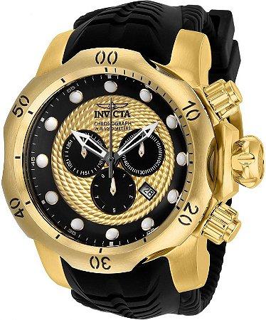 Relógio INVICTA Venom 20443 Suíço Pulseira em Borracha Banhado a Ouro 18k  Cronógrafo Original f6fa2a4f23
