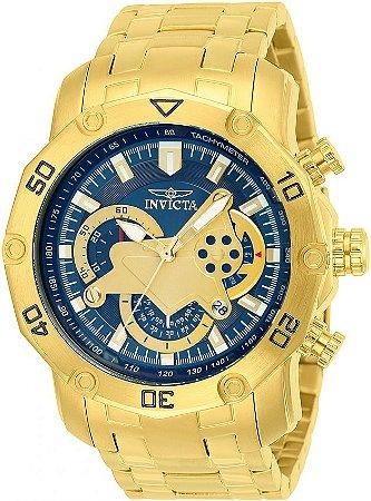 5eda24f547a Lançamento Relógio INVICTA Pro Diver 22765 Banhado a Ouro 18k Azul  Cronógrafo