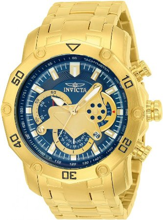 Relógio INVICTA Pro Diver 22765 Banhado a Ouro 18k Azul Cronógrafo