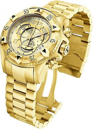 Relógio INVICTA Original Excursion Reserve 6471 banhado 18k a ouro champanhe Cronógrafo Suíço