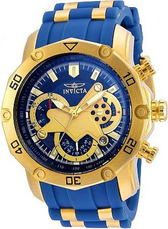 09aa6fc665d Lançamento Relógio INVICTA Pro Diver 22798 50mm Banhado a Ouro 18k  Mostrador e pulseira Azul Cronógrafo