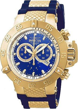 Relógio Invicta Subaqua Noma 3 5515 Banhado Ouro 18k Original Cronógrafo Suíço Azul