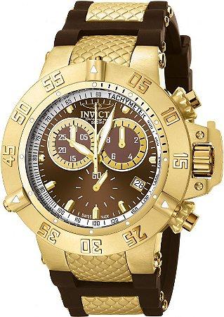 Relógio Invicta Subaqua Noma III 5516 Banhado Ouro 18k Original Cronógrafo Suíço Marrom
