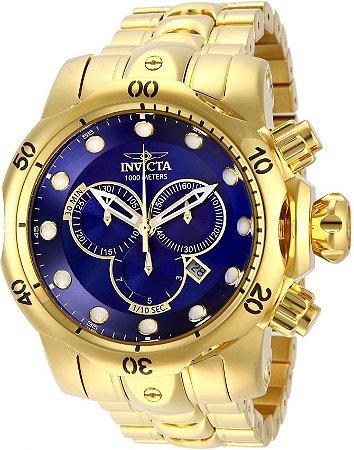 Relógio Invicta Reserve Venom 14504 banhado a Ouro 18k Suíço Cronógrafo, Azul