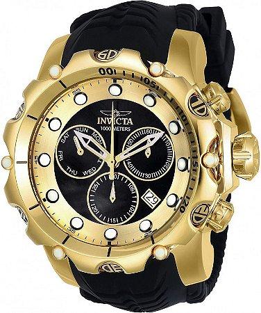 Relógio Invicta Venom 20401 Original Banhado a Ouro 18kt Preto Suíço Cronógrafo