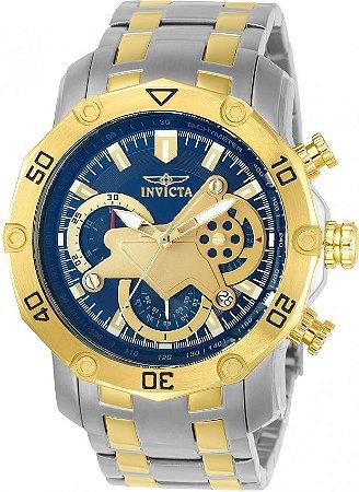 Relógio INVICTA 22762 Pro Diver 50mm Misto Prata Banhado a Ouro 18k