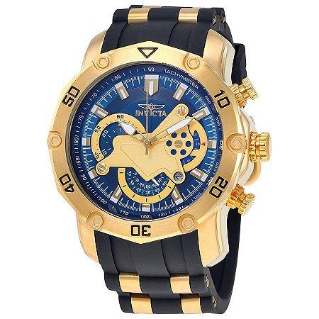 4a5c0a6aeb4 Relógio INVICTA 23426 Pro Diver 50mm Banhado a Ouro 18k cronógrafo  Mostrador Azul