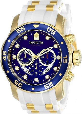 Relógio INVICTA 20288 Pro Diver 48mm Banhado a Ouro 18k cronógrafo Branco