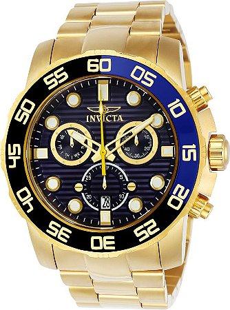 65bb34713bb Relógio INVICTA 21555 Pro Diver 50mm Banhado a Ouro 18k cronógrafo Azul  Suíço