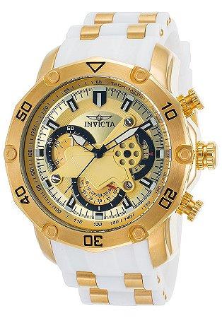 Relógio INVICTA 23424 Pro Diver 50mm Banhado a Ouro 18k  Branco Cronógrafo