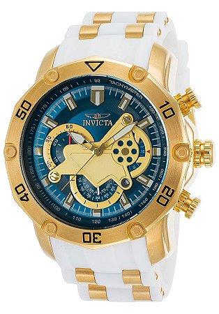 Relógio INVICTA 23423 Pro Diver 50mm Banhado a Ouro 18k  Branco Mostrador Azul Cronógrafo