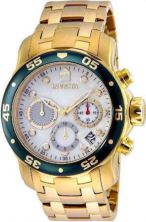 Relógio INVICTA 80073 Pro Diver 48mm Banhado a Ouro 18k cronógrafo Branco