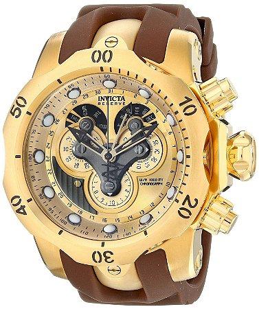 f8faf2d4d76 Relógio Invicta 14464 Reserve Venom Original Suíço Banhado a Ouro 18k  Pulseira Marrom